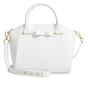 NWT Ted Baker London Janne Bow Leather White Tote